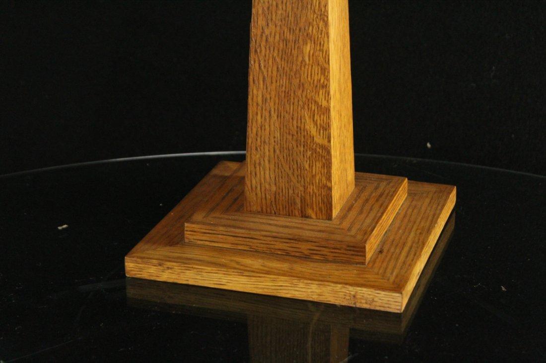 LEVENGER Arts& Crafts MISSION OAK TABLE LAMP MICA PANEL - 3