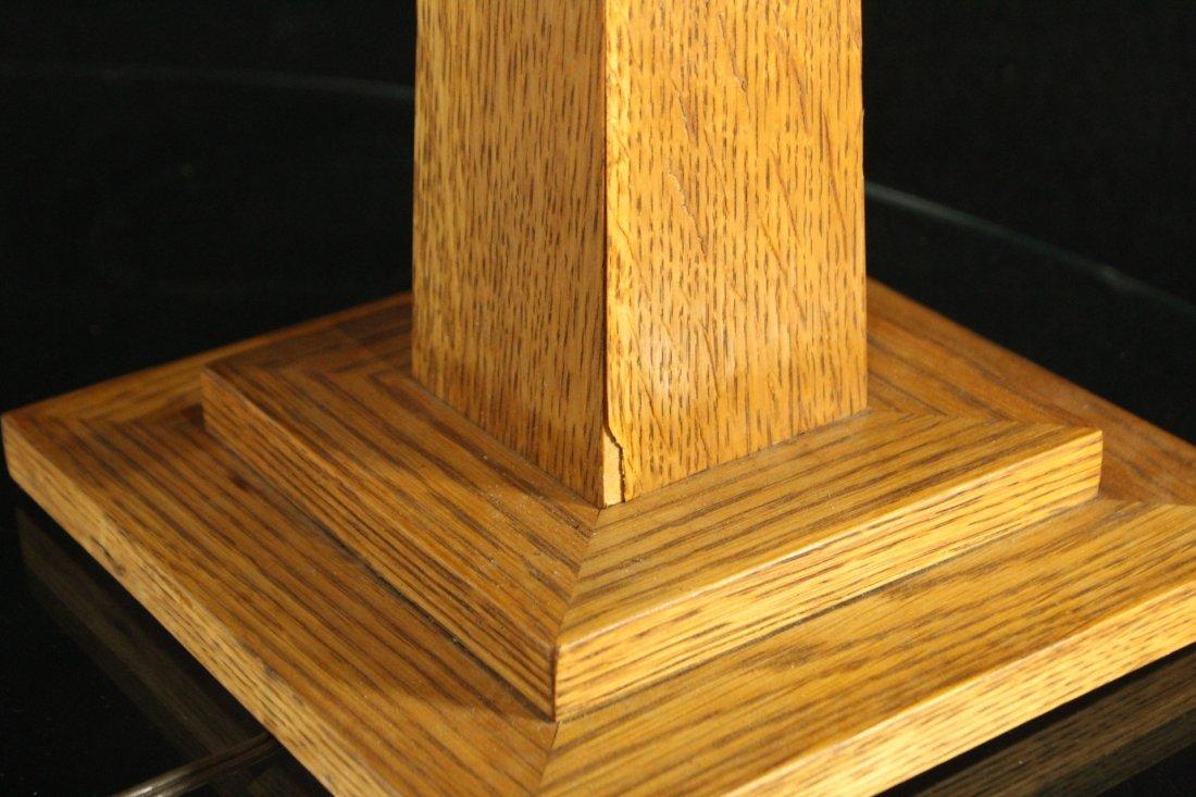 LEVENGER Arts& Crafts MISSION OAK TABLE LAMP MICA PANEL - 8