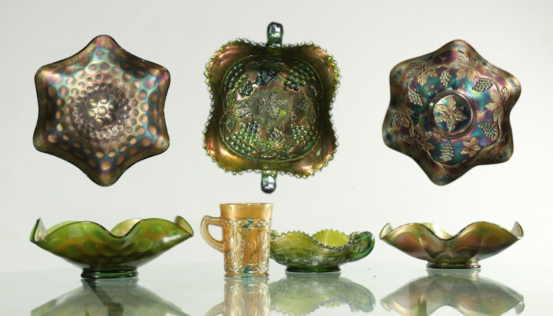 Four [4] Assorted CARNIVAL GLASS Bowls, Tumbler