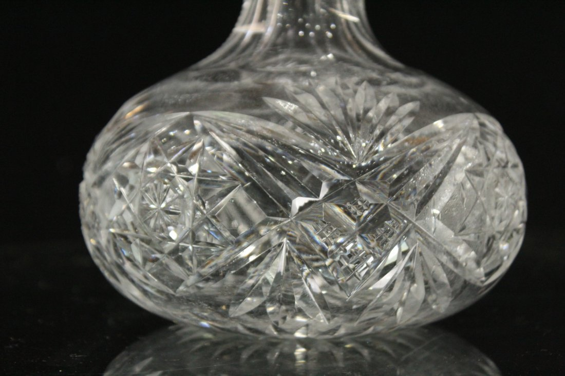 THREE [3] Assorted CUT GLASS DECANTER Bases - 2