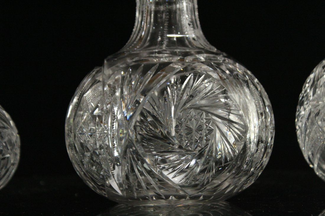 THREE [3] Assorted CUT GLASS DECANTER Bases - 4