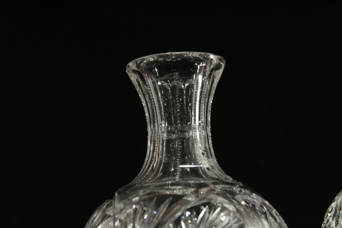 THREE [3] Assorted CUT GLASS DECANTER Bases - 5