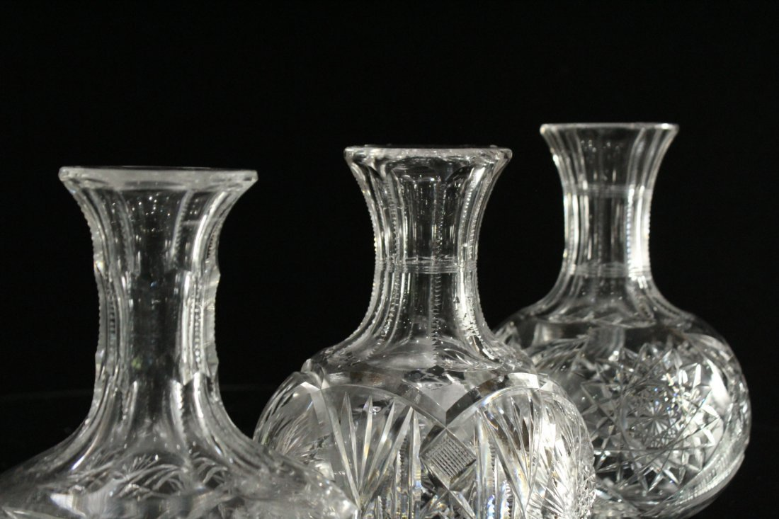 THREE [3] Assorted CUT GLASS DECANTER Bases - 9