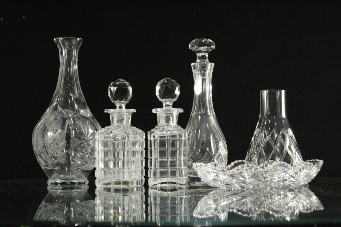 Six [6] Assorted CUT GLASS BOTTLES, DISH, DECANTERS
