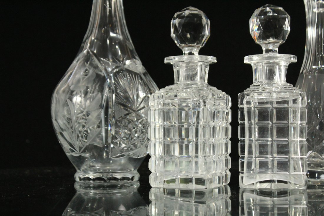 Six [6] Assorted CUT GLASS BOTTLES, DISH, DECANTERS - 2