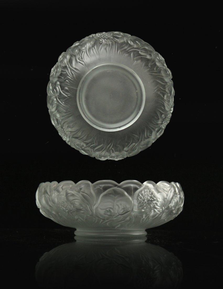 SATIN GLASS FLOWER FORM BOWL Embossed Petals