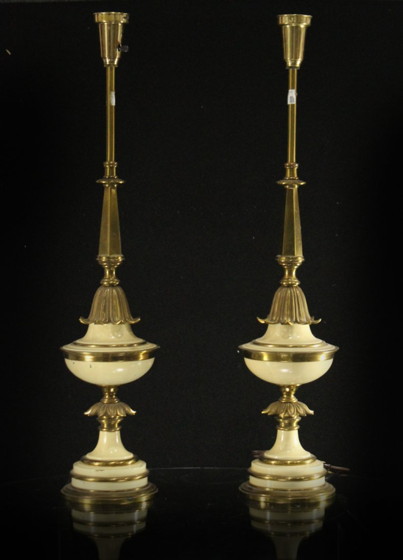 Pair HOLLYWOOD REGENCY Tall Brass Table Lamps - Quality