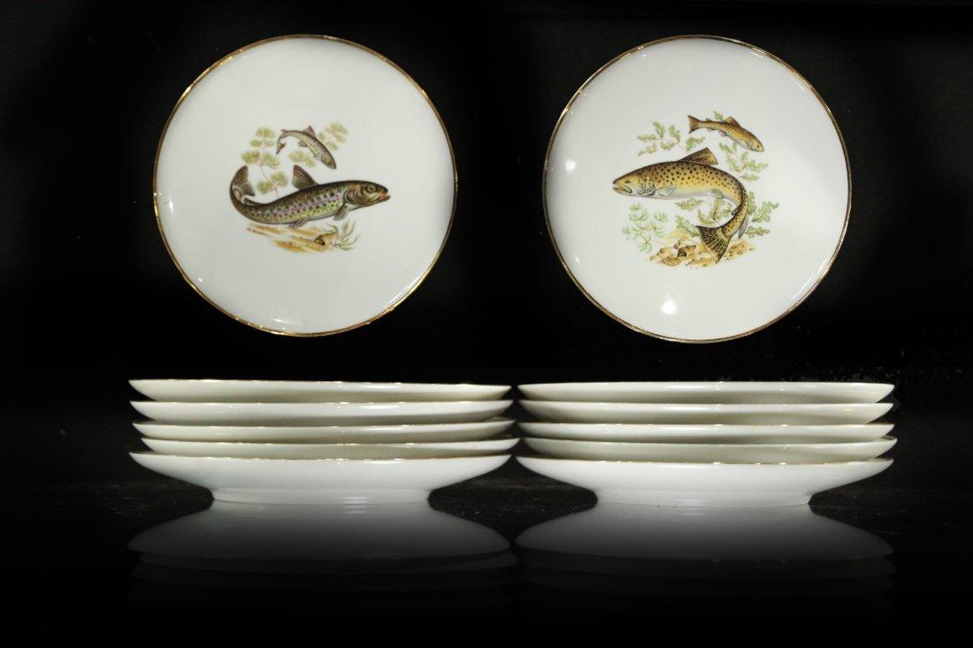 Antique Porcelain FISH PLATES Bavaria , Western Germany