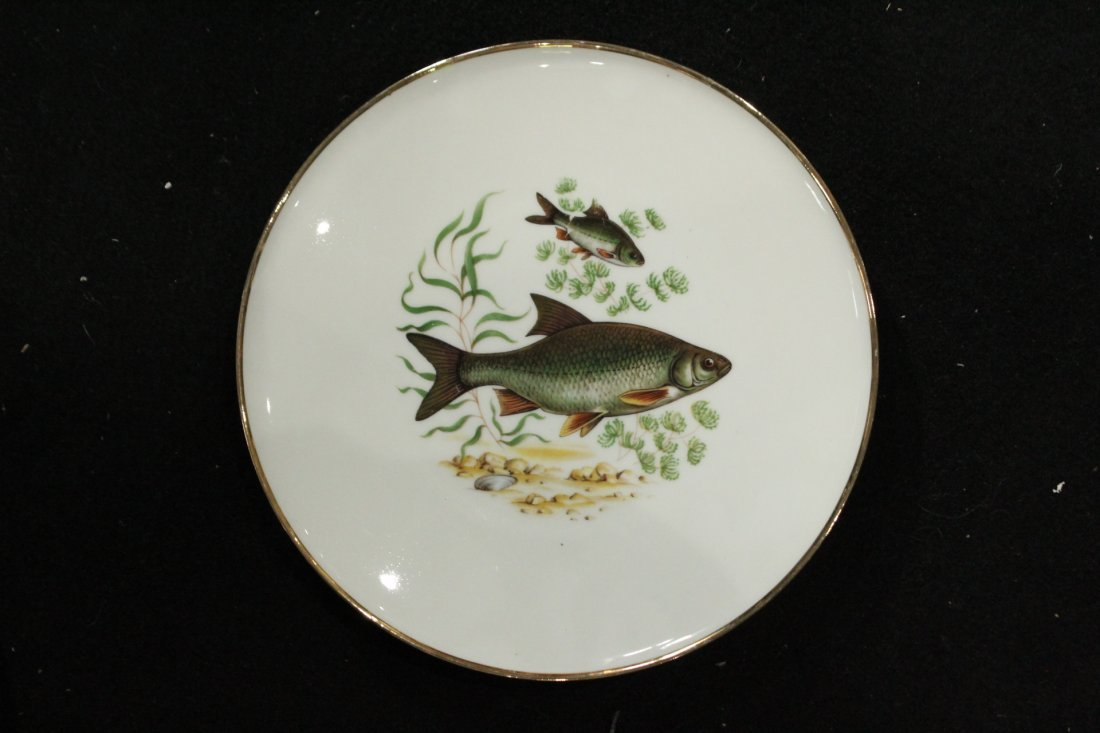 Antique Porcelain FISH PLATES Bavaria , Western Germany - 5