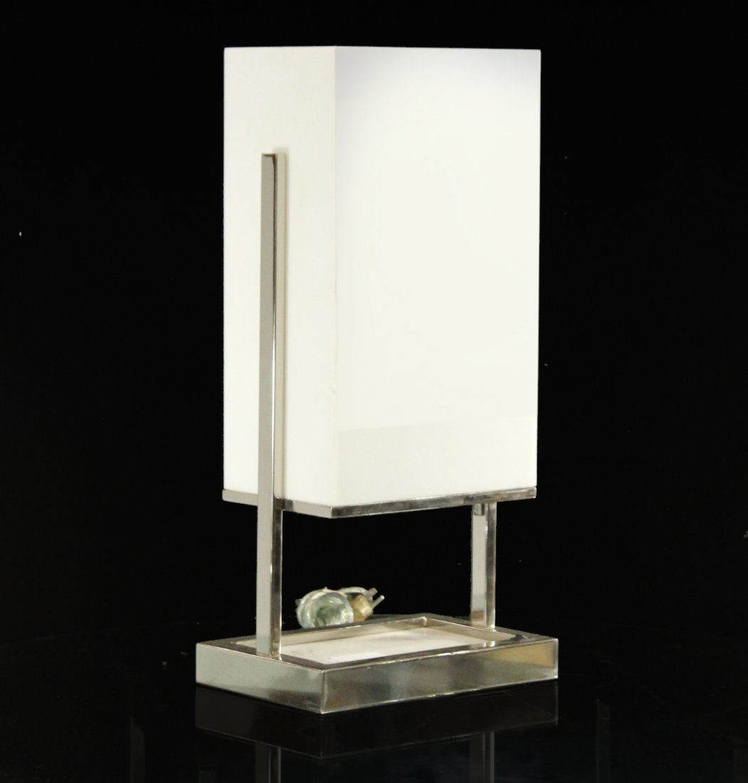 Modern Design CHROME With WHITE PLASTIC SHADE LAMP