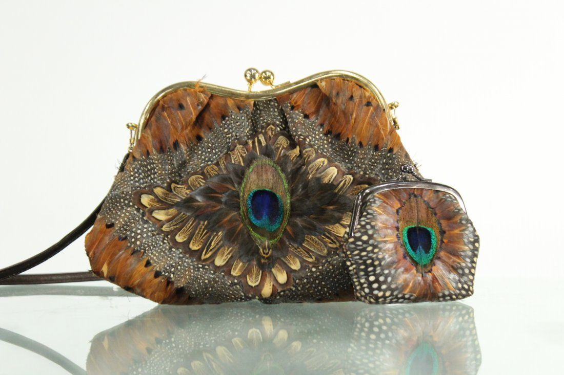 Vintage PEACOCK FEATHERS EVENING BAG With COIN PURSE