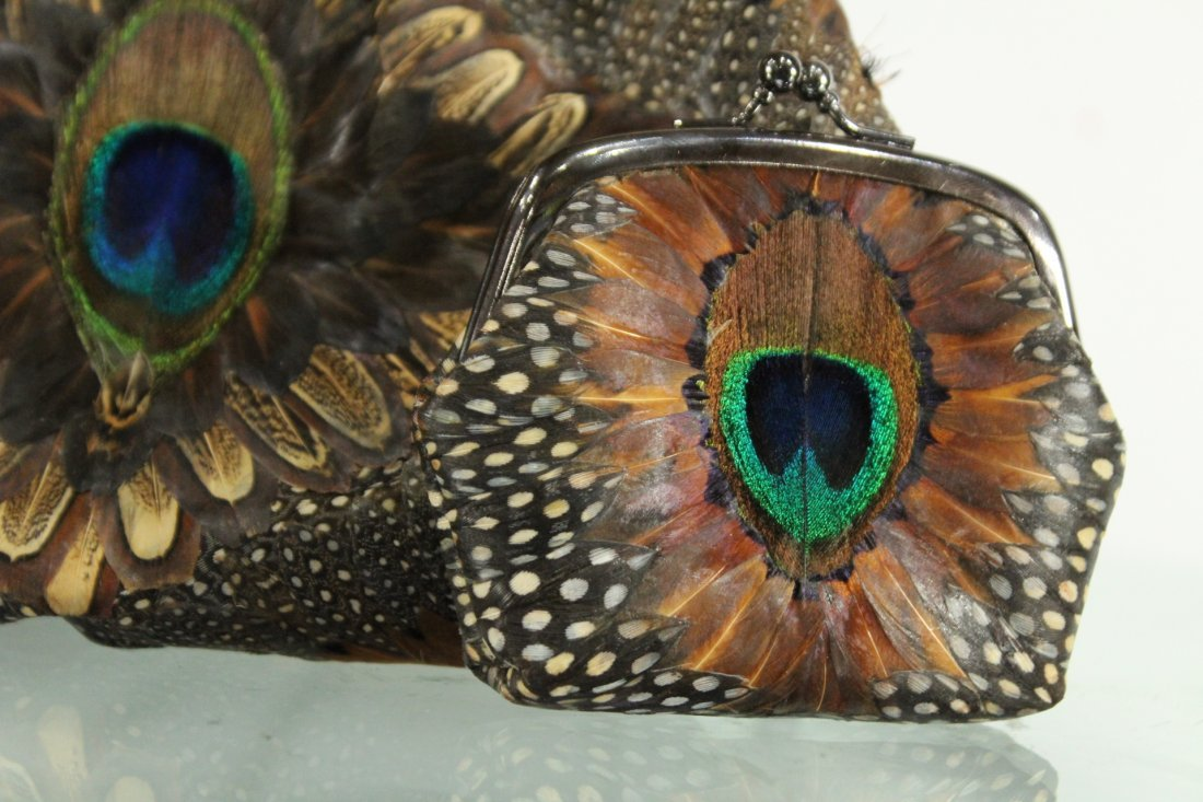Vintage PEACOCK FEATHERS EVENING BAG With COIN PURSE - 2