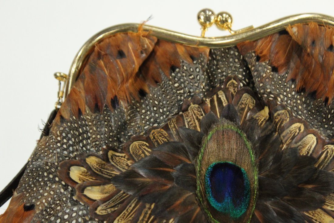 Vintage PEACOCK FEATHERS EVENING BAG With COIN PURSE - 3