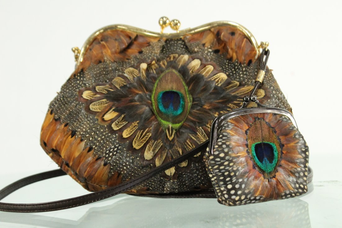 Vintage PEACOCK FEATHERS EVENING BAG With COIN PURSE - 5