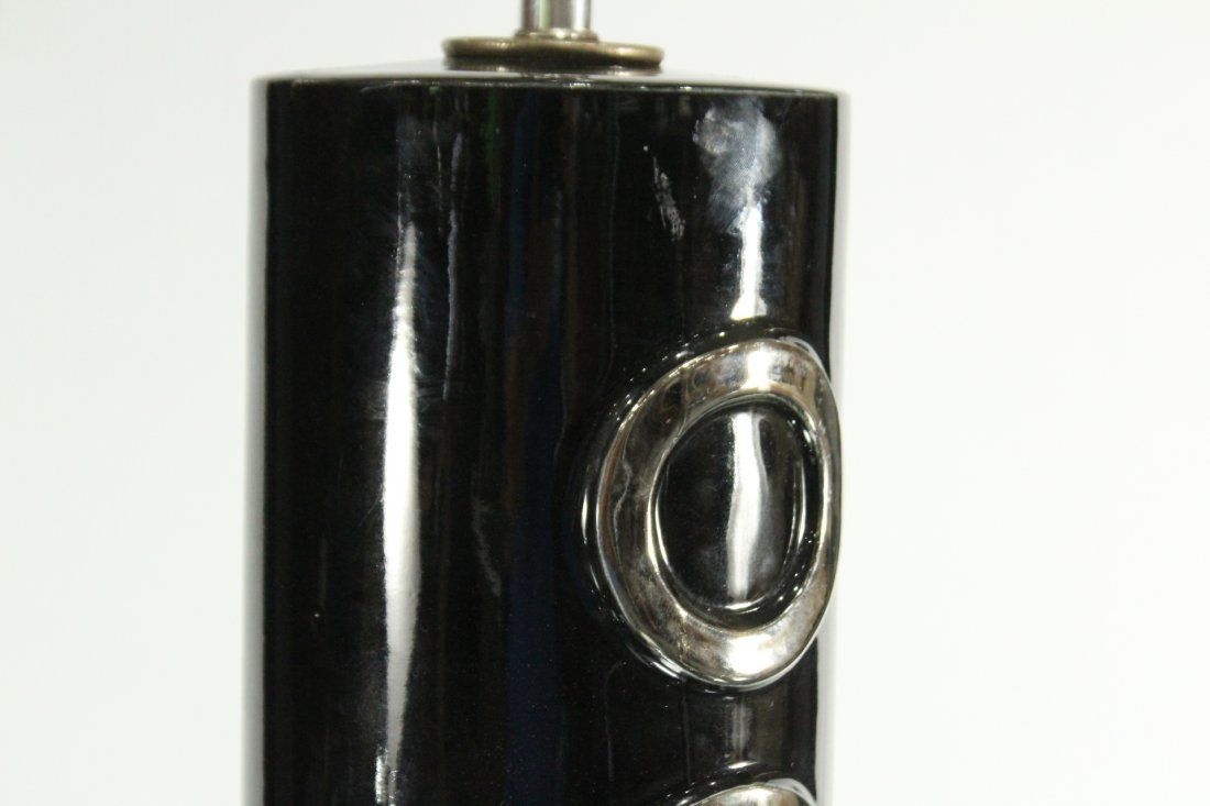 Mid-Century Modern Ceramic Black & Silver Table Lamp - 2