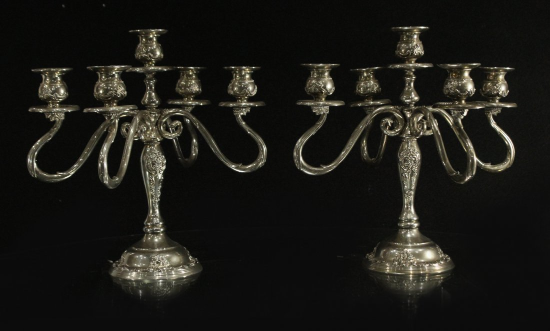 GODINGER Pair Ornate 5-Arm SILVER PLATE CANDLEABRAS