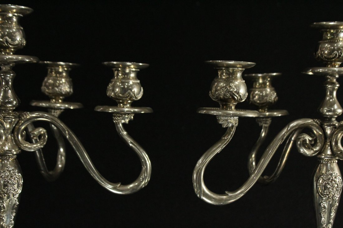 GODINGER Pair Ornate 5-Arm SILVER PLATE CANDLEABRAS - 4