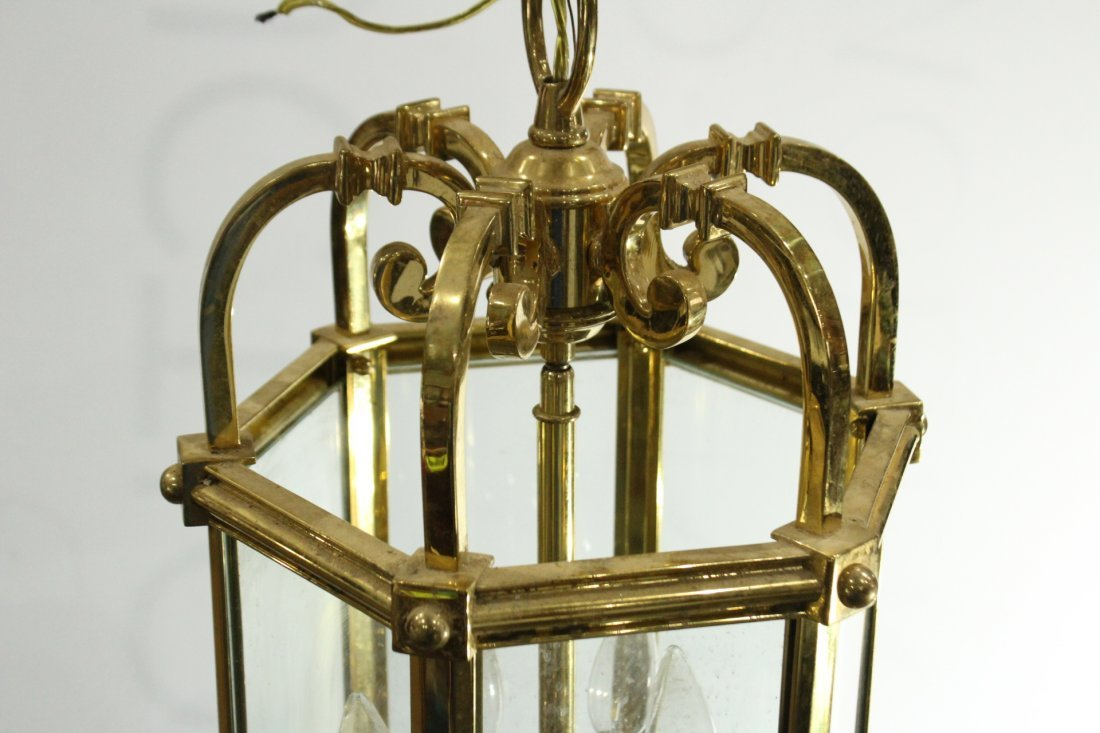 QUALITY BRASS HANGING FIXTURE With Glass Panels - 4