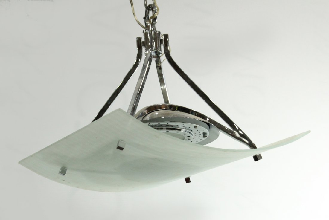 Mid-Century Design CHROME & CURVED GLASS Light Fixture