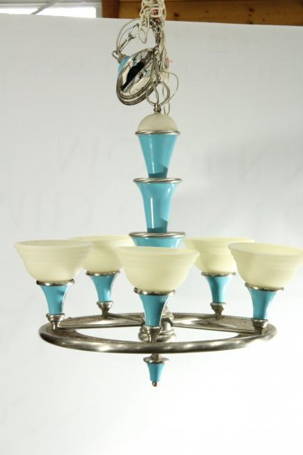 3 Matching Mid-Century Design 5-LIGHT SHADES CHANDELIER - 2