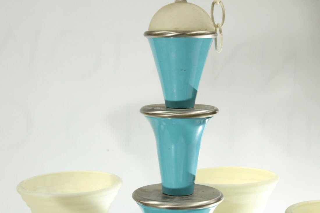 3 Matching Mid-Century Design 5-LIGHT SHADES CHANDELIER - 4
