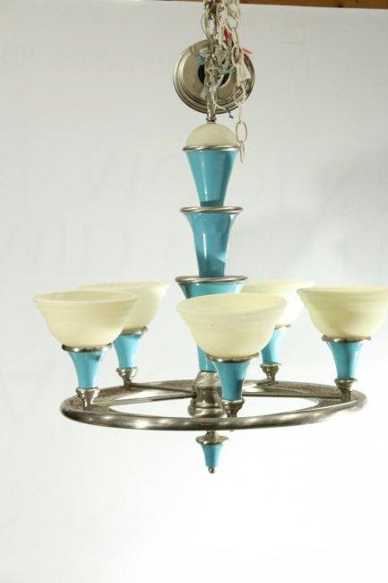 3 Matching Mid-Century Design 5-LIGHT SHADES CHANDELIER - 7
