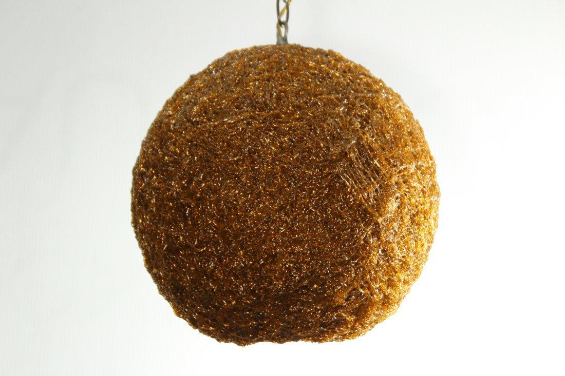 Mid-Century Modern AMBER SPAGHETTI BALL HANGING LAMP