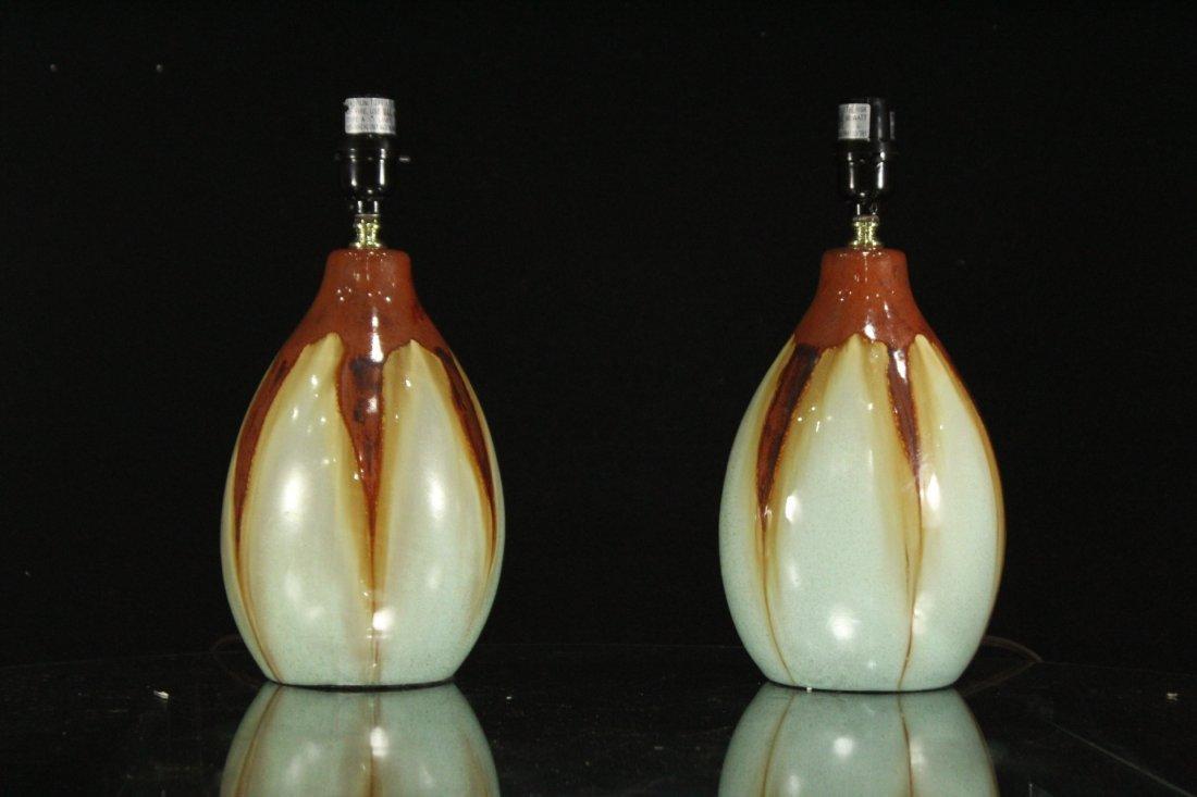 Pair Mid-Century Design DRIP GLAZE ART POTTERY LAMPS