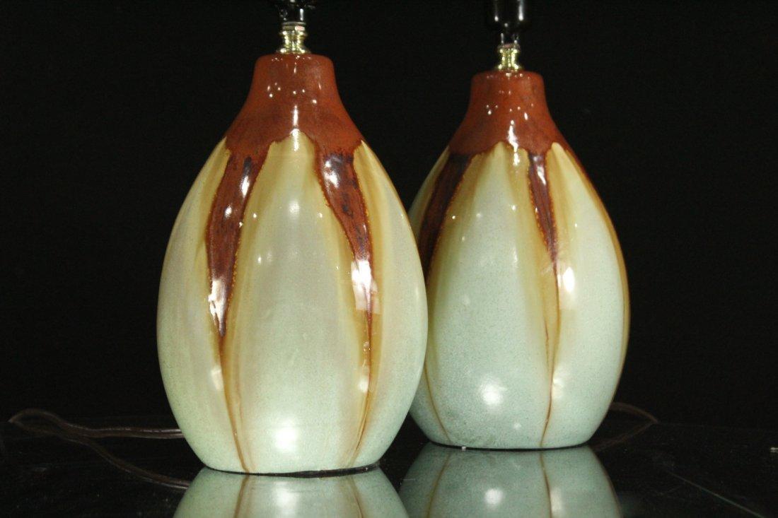 Pair Mid-Century Design DRIP GLAZE ART POTTERY LAMPS - 3