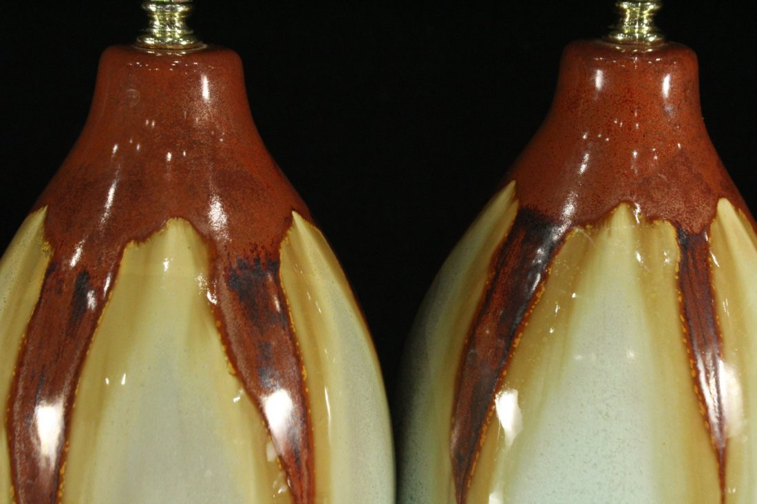 Pair Mid-Century Design DRIP GLAZE ART POTTERY LAMPS - 4
