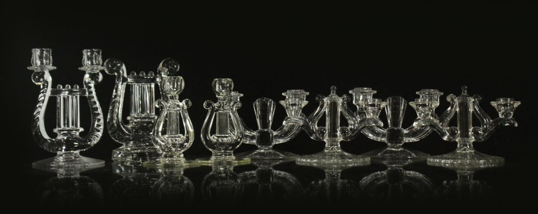 Eight [8] Assorted GLASS CRYSTAL CANDLESTICKS