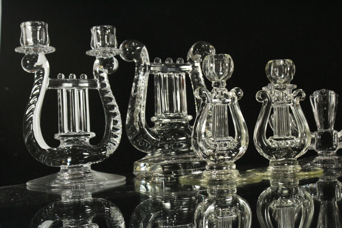 Eight [8] Assorted GLASS CRYSTAL CANDLESTICKS - 2