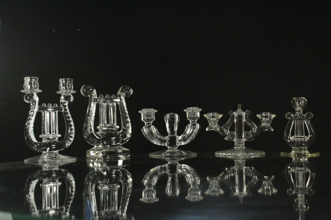 Eight [8] Assorted GLASS CRYSTAL CANDLESTICKS - 4