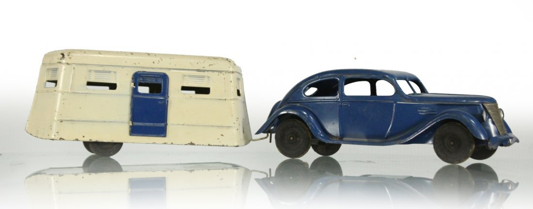 KINGSBURY TOYS 1940s Blue Car Pulling Trailer Camper