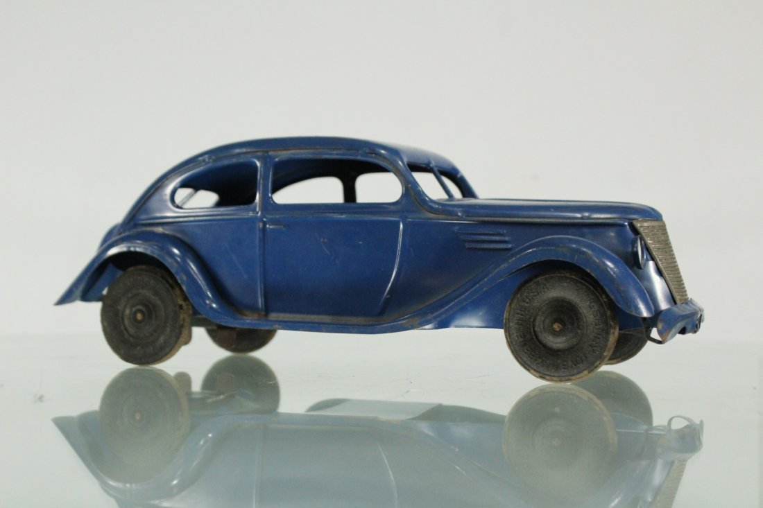 KINGSBURY TOYS 1940s Blue Car Pulling Trailer Camper - 2