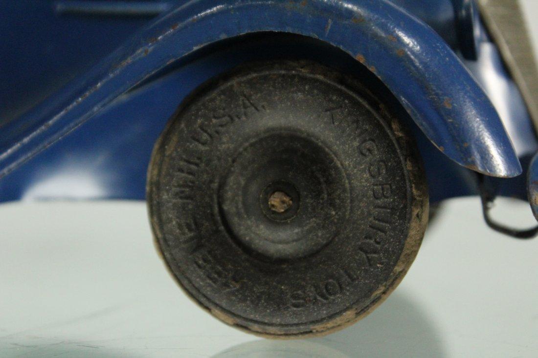 KINGSBURY TOYS 1940s Blue Car Pulling Trailer Camper - 3