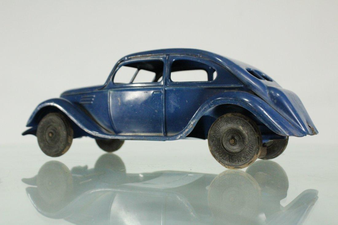 KINGSBURY TOYS 1940s Blue Car Pulling Trailer Camper - 5