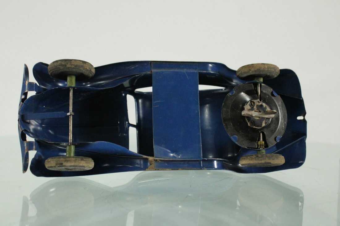 KINGSBURY TOYS 1940s Blue Car Pulling Trailer Camper - 6