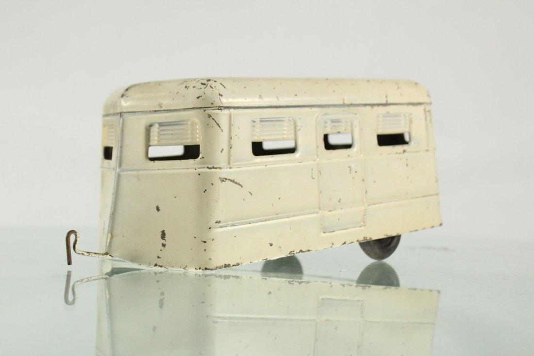 KINGSBURY TOYS 1940s Blue Car Pulling Trailer Camper - 9