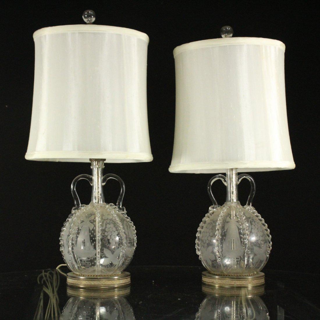 Pair Antique BACCARAT ETCHED GLASS BOUDOIR LAMPS
