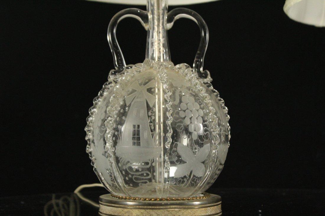 Pair Antique BACCARAT ETCHED GLASS BOUDOIR LAMPS - 2