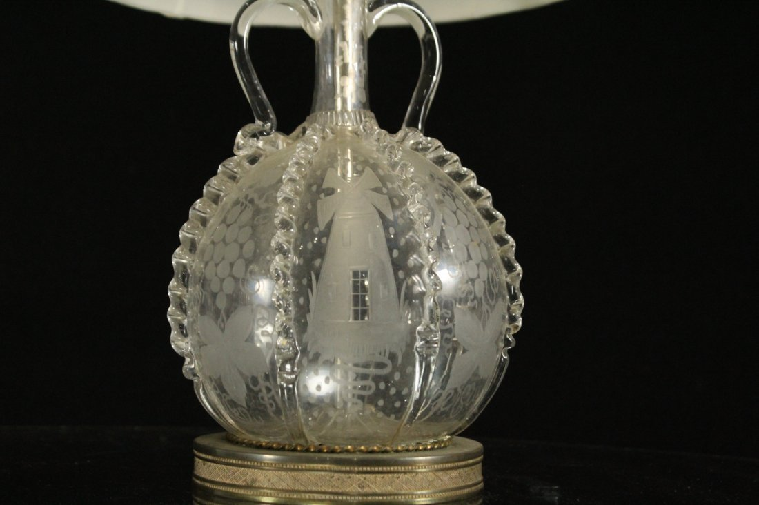 Pair Antique BACCARAT ETCHED GLASS BOUDOIR LAMPS - 3