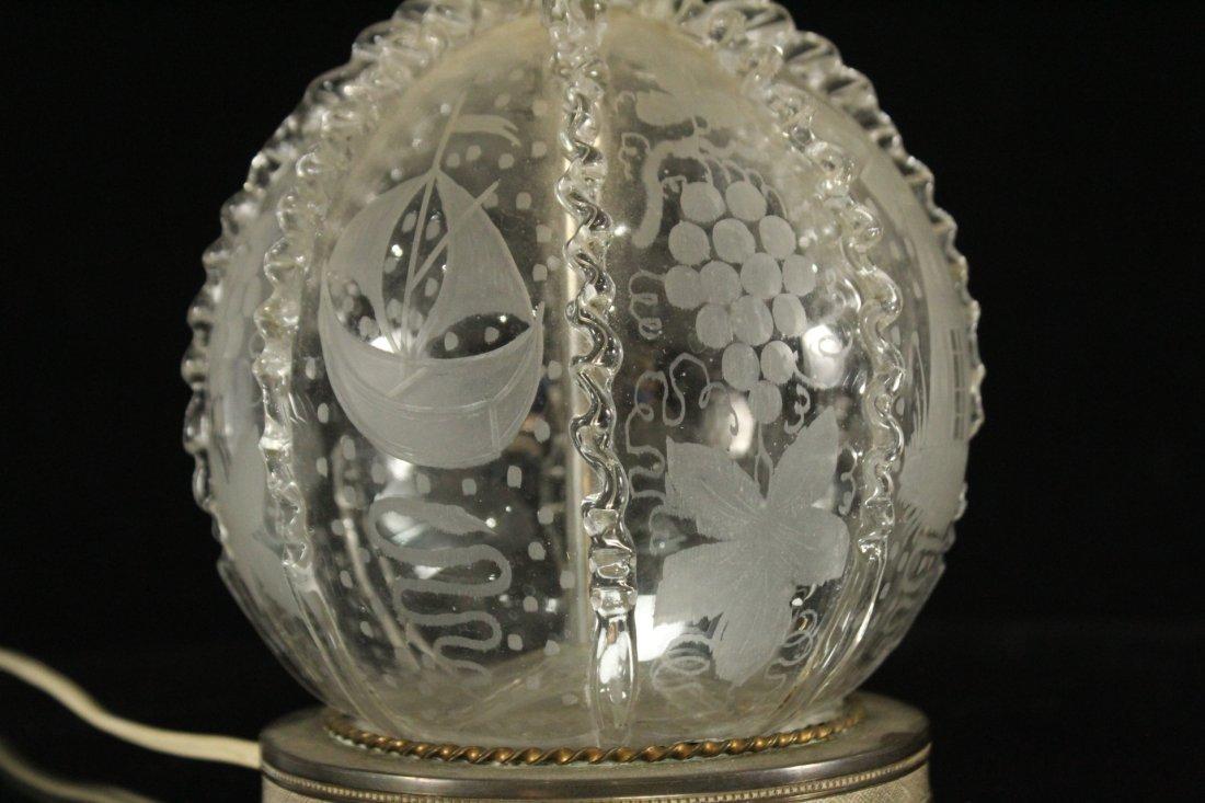Pair Antique BACCARAT ETCHED GLASS BOUDOIR LAMPS - 6