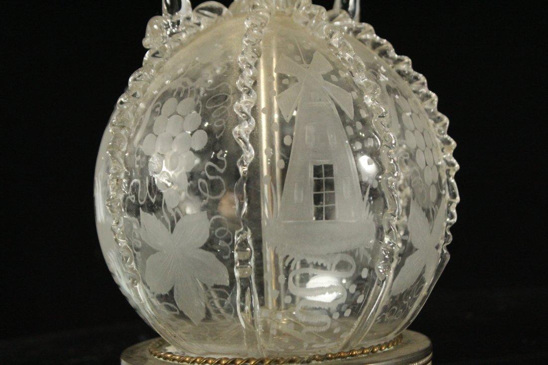 Pair Antique BACCARAT ETCHED GLASS BOUDOIR LAMPS - 7