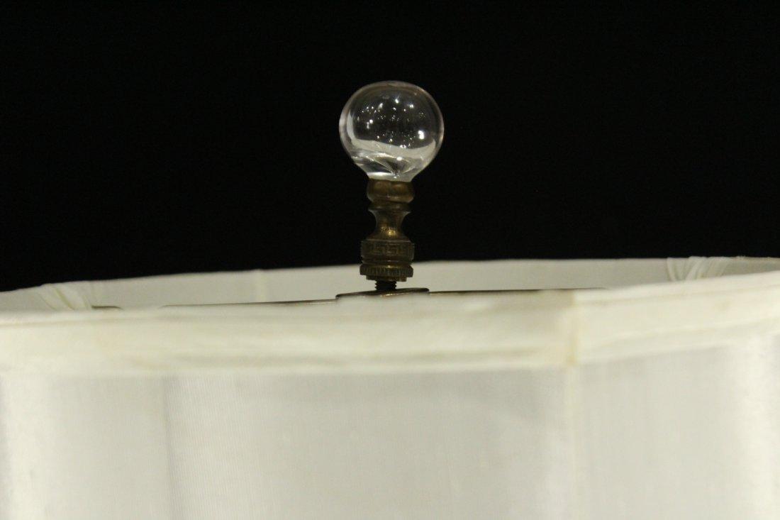 Pair Antique BACCARAT ETCHED GLASS BOUDOIR LAMPS - 8