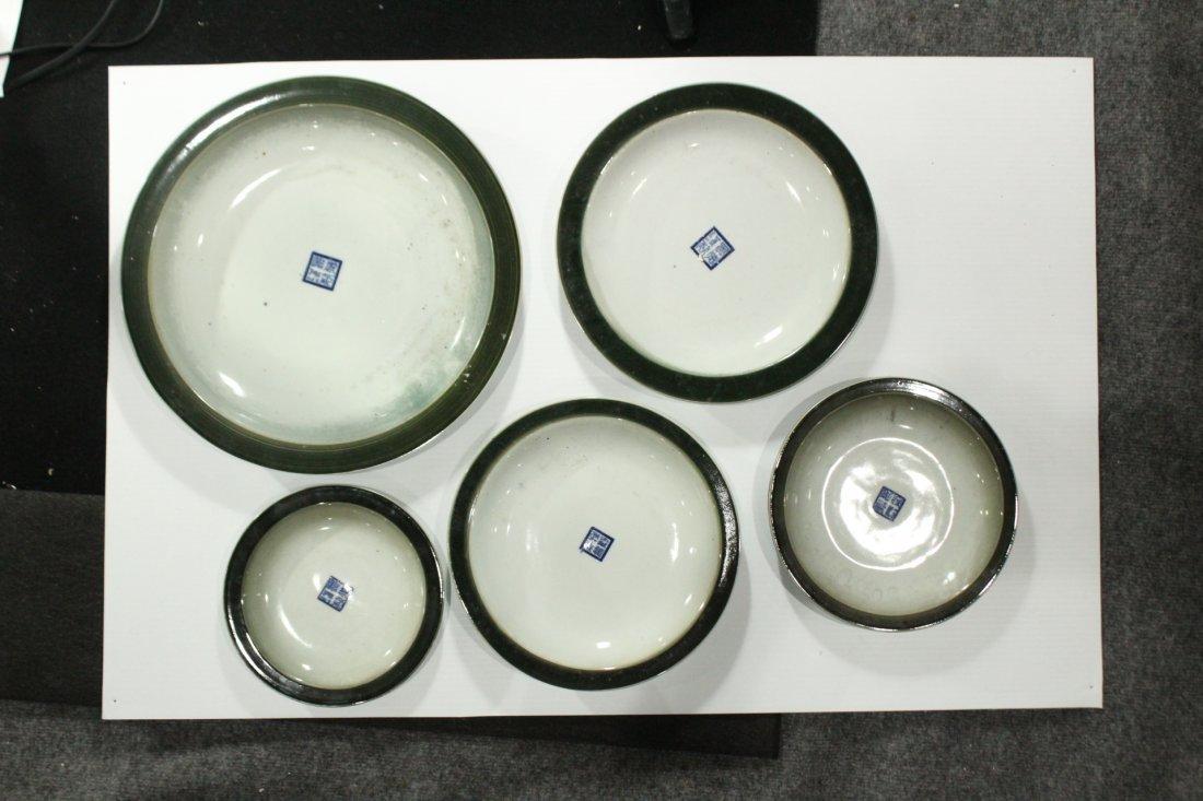 Five [5] Oriental Porcelain GRADUATED SIZE UNDERPLATES - 4