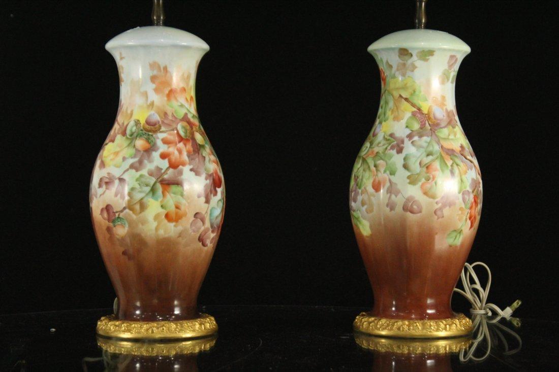 Pair Antique ROSENTHAL PORCELAIN FLORAL TABLE LAMPS