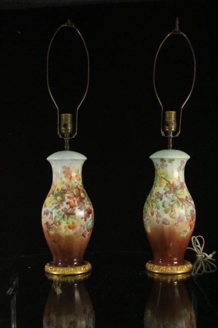 Pair Antique ROSENTHAL PORCELAIN FLORAL TABLE LAMPS - 6