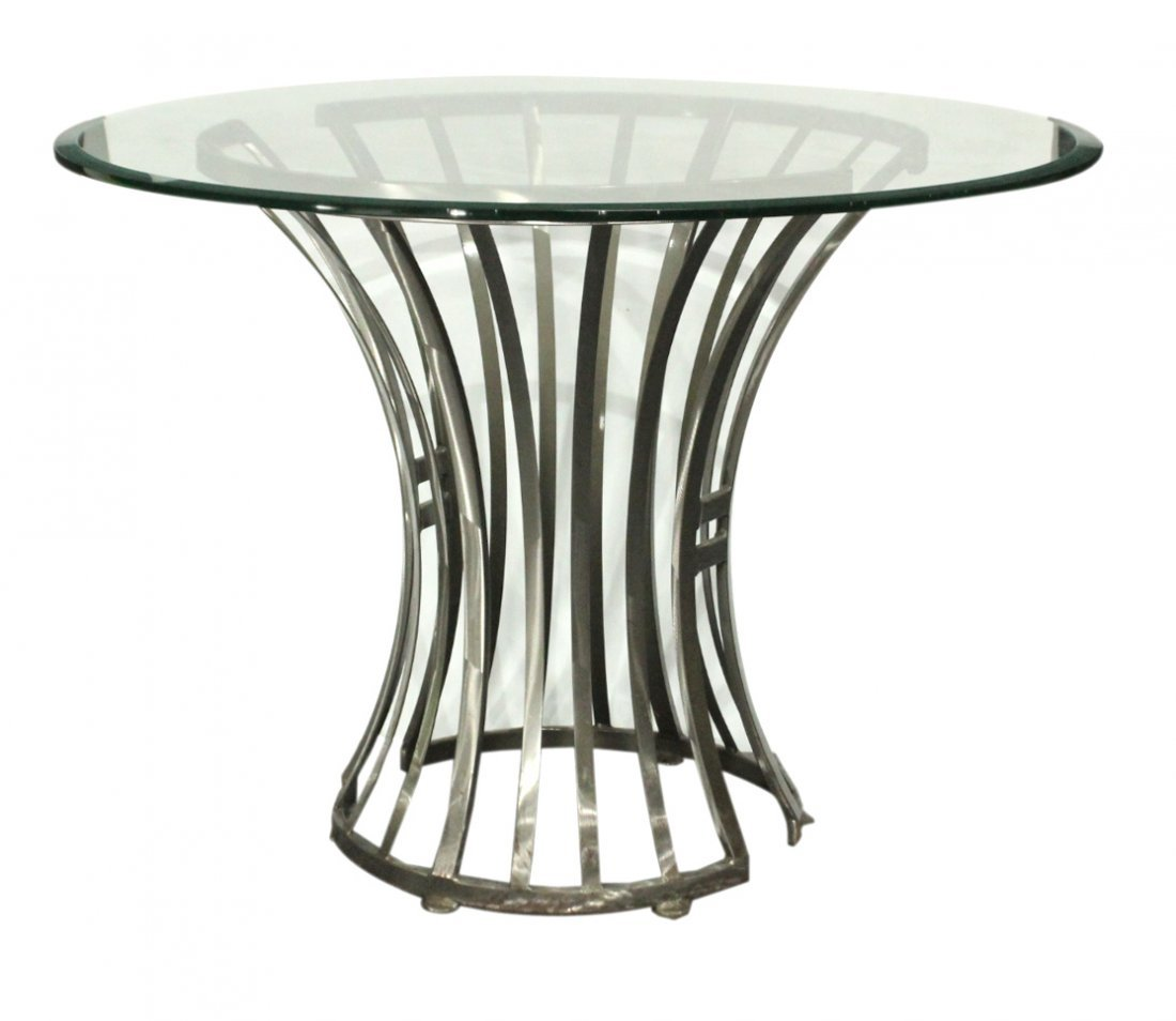 Mid-Century Design BRUSHED STEEL ROUND GLASS TOP TABLE