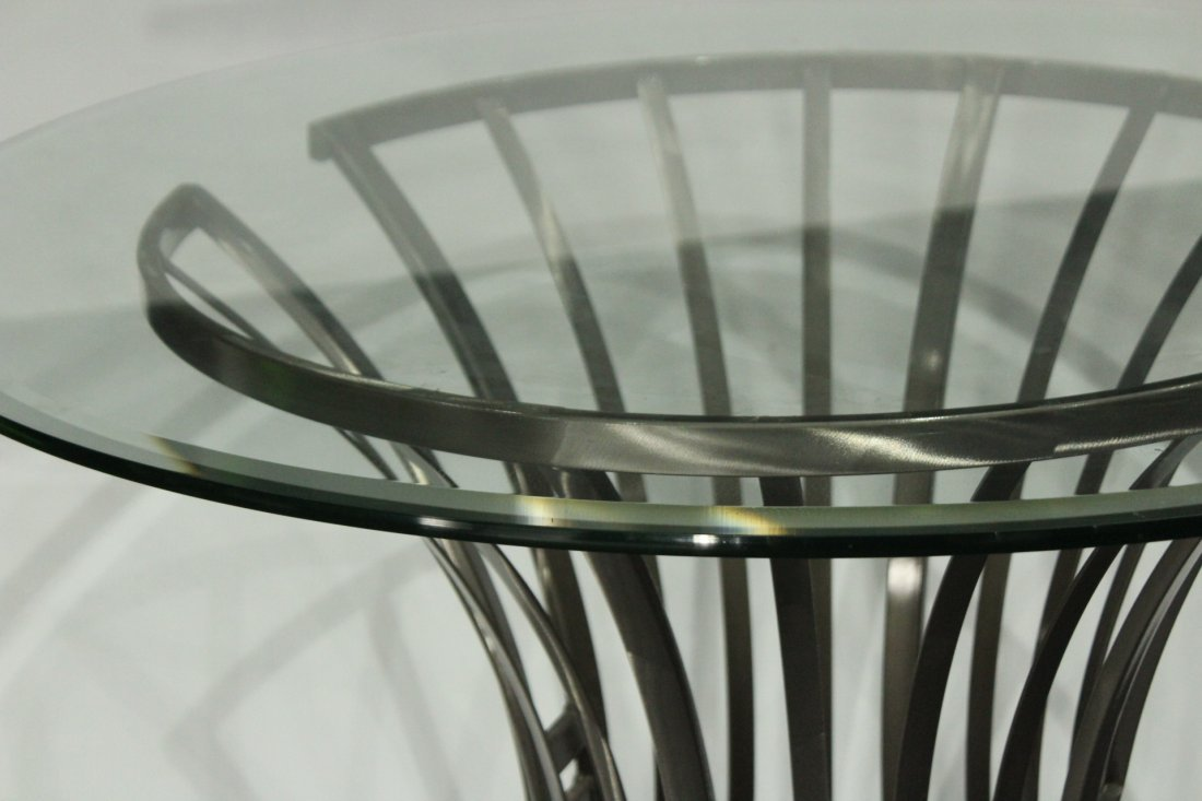 Mid-Century Design BRUSHED STEEL ROUND GLASS TOP TABLE - 2